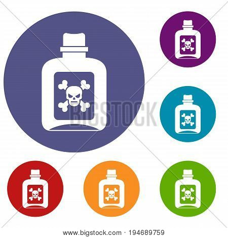 Poison icons set in flat circle reb, blue and green color for web