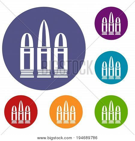 Cartridges icons set in flat circle reb, blue and green color for web