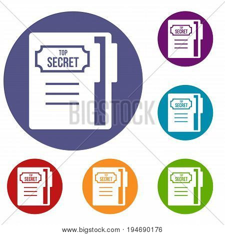 Notepad icons set in flat circle reb, blue and green color for web