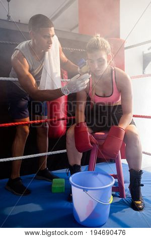Trainer applying cream on woman face in boxing ring