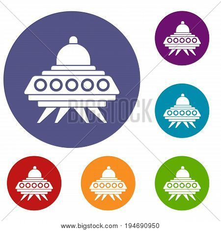 Alien spaceship icons set in flat circle reb, blue and green color for web