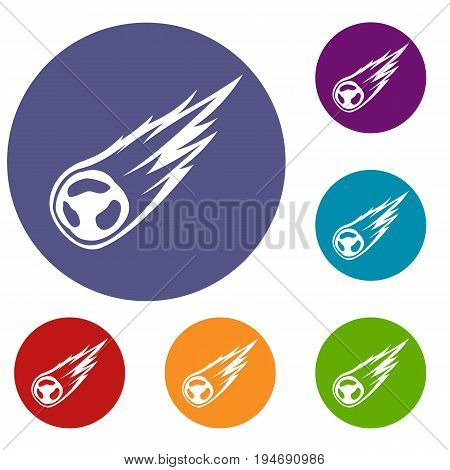 Falling meteor with long tail icons set in flat circle reb, blue and green color for web