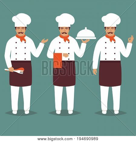 Set Cartoon Chief Cook Character. white restaurant profession uniform. Modern Flat Design Vector Illustration