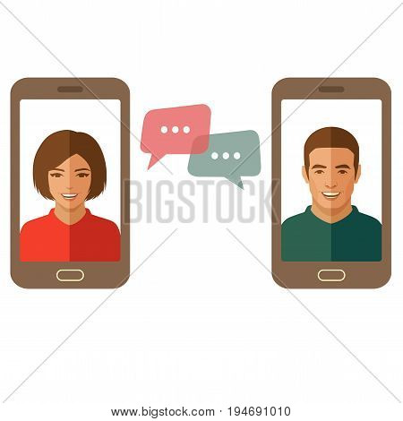 Online chat man and woman. Couple chat on a cell phone. Cartoon man and woman. Flat vector design.