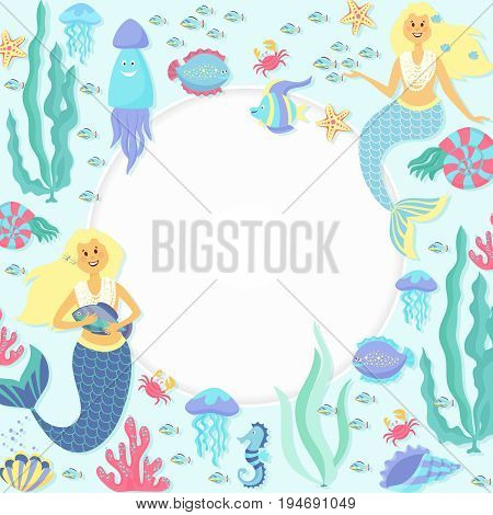 Greeting banner on the marine theme. Cute mermaids, seashells, marine animals.Underwater life collection.Fish girls vector characters. Swimming pretty princess mermaids card. Fish woman character cartoon style vector illustration