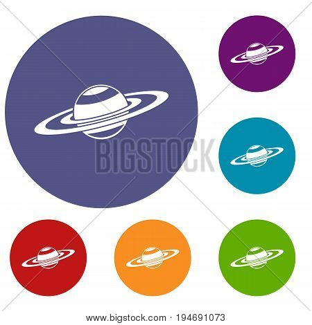 Saturn rings icons set in flat circle reb, blue and green color for web