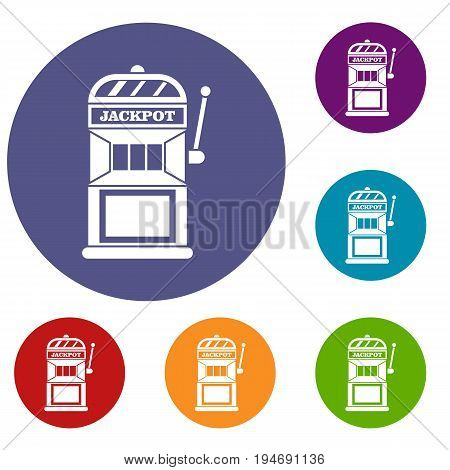 Gamble machine icons set in flat circle reb, blue and green color for web