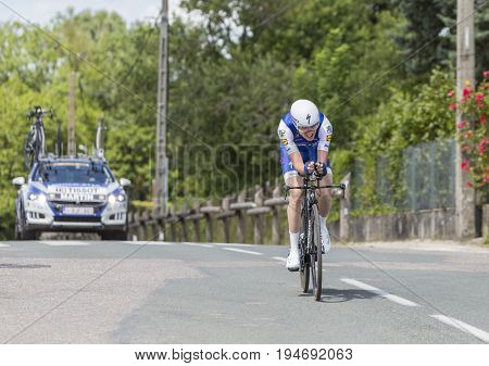Bourgoin-Jallieu France - 07 May 2017: The Irish cyclist Dan Martin of Quick-Step Floors Team riding during the time trial stage 4 of Criterium du Dauphine 2017.