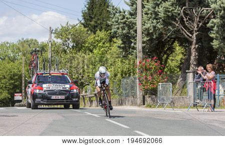 Bourgoin-Jallieu France - 07 May 2017: The Irish cyclist Nicolas Roche of BMC Team riding during the time trial stage 4 of Criterium du Dauphine 2017.