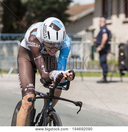Bourgoin-Jallieu France - 07 May 2017: Portrait of the French cyclist Romain Bardet of AG2R La Mondiale Team riding during the time trial stage 4 of Criterium du Dauphine 2017.