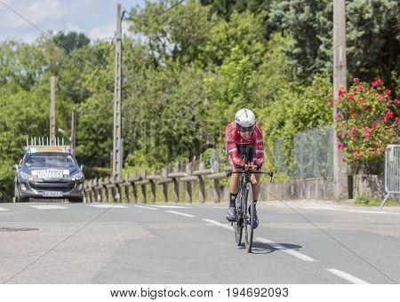 Bourgoin-Jallieu France - 07 May 2017: The Portuguese cyclist Andre Cardoso of Trek-Segafredo Team riding during the time trial stage 4 of Criterium du Dauphine 2017.