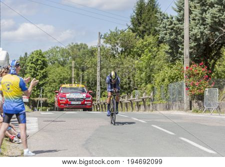 Bourgoin-Jallieu France - 07 May 2017: The Czech cyclist Roman Kreuziger of Orica-Scott Team riding during the time trial stage 4 of Criterium du Dauphine 2017.