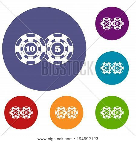 Poker chips nominal five and ten icons set in flat circle reb, blue and green color for web