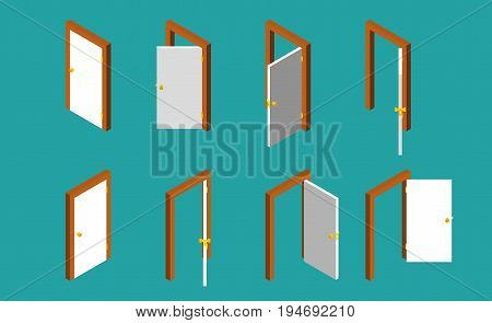 White isometric door. Set of the opened and closed doors. Vector illustration