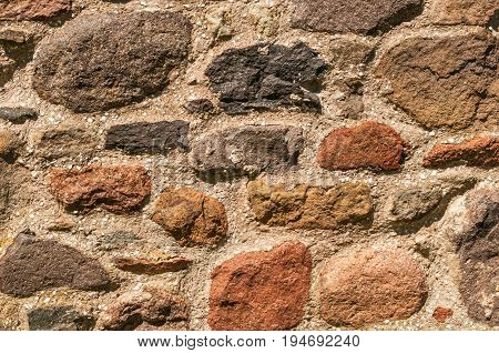 Old Rustic Stonewall Background, multi-colour with mortar