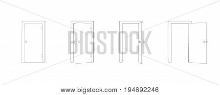Outline closed and opened doors. Front view door vector