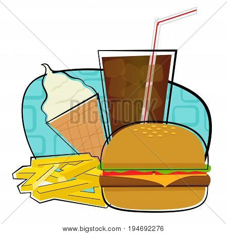 Clip art of a cheeseburger with fries soda and ice cream. Eps10