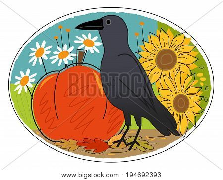 Decorative autumn clip art of a crow, pumpkin and flowers. Eps10