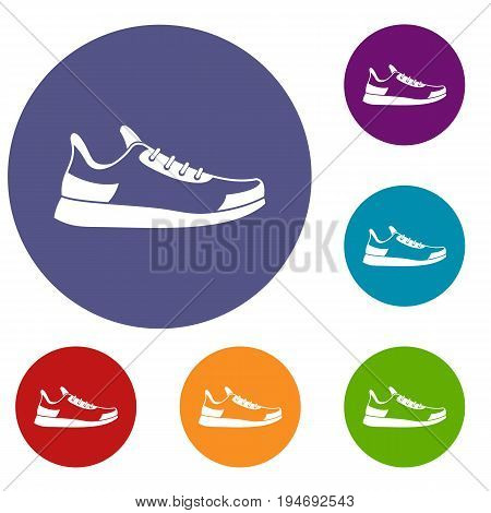Sneaker icons set in flat circle reb, blue and green color for web