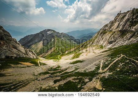 View of Mount Pilatus, a summer Swiss landscape. Tourism Switzerland
