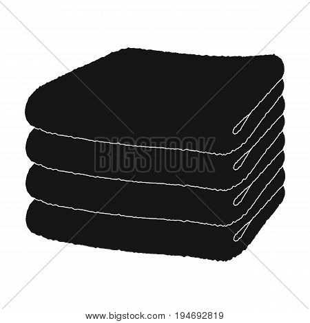 A stack of clean linen.Suhaya cleaning single icon in black style vector symbol stock illustration .
