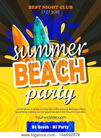 Summer Beach Party Flyer. Vector Design EPS 10