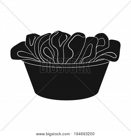 A bowl with dirty laundry. Dry cleanin single icon in black style vector symbol stock illustration .