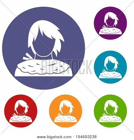 Male shorn icons set in flat circle reb, blue and green color for web