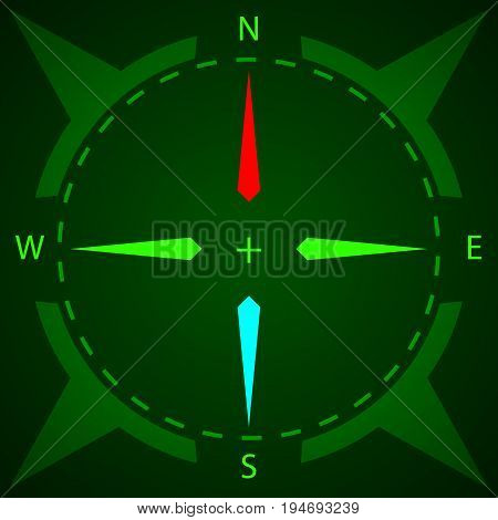 Compass. Display compass with illumination. Game Design. Vector illustration
