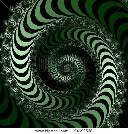 Green and black striped fractal illustration. Light green dark green and black striped fractal. Abstract illustration.