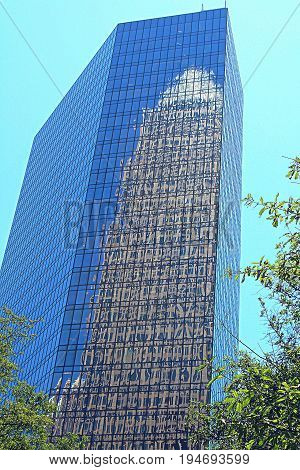 Building with reflection in the city of Charlotte, NC.