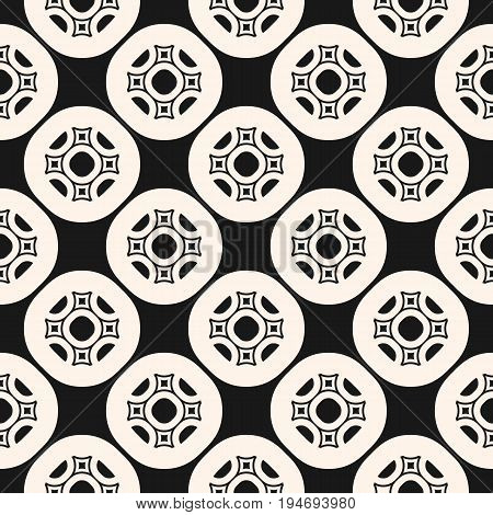 Monochrome ornamental seamless pattern, oriental tiling. Vector abstract geometric texture, circular lattice, rounded structure. Repeat mosaic background. Design element for prints, decor, fabric, web.