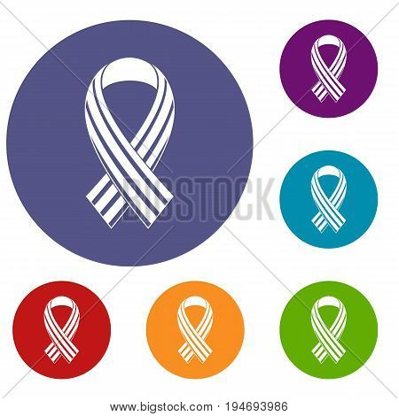 Ribbon LGBT icons set in flat circle reb, blue and green color for web