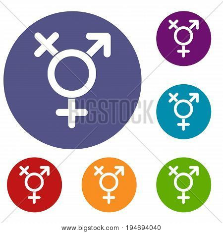 Transgender sign icons set in flat circle reb, blue and green color for web
