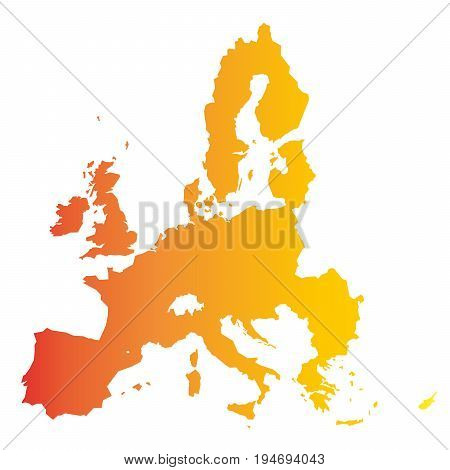 European Union territory. Orange gradient silhouette isolated on white background. Map of EU. Vector illustration.