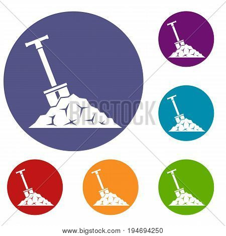Shovel in coal icons set in flat circle reb, blue and green color for web