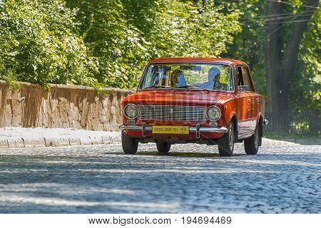Lviv Ukraine - June 4 2017:Old retro car VAZ-2101 taking participation in race Leopolis grand prix 2017 Ukraine.