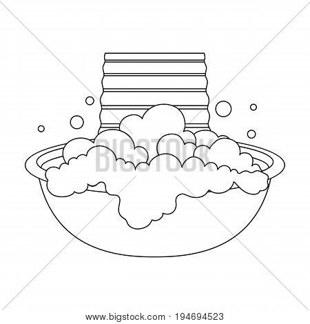 Bowl for washing. Dry cleaning single icon in black style vector symbol stock illustration .