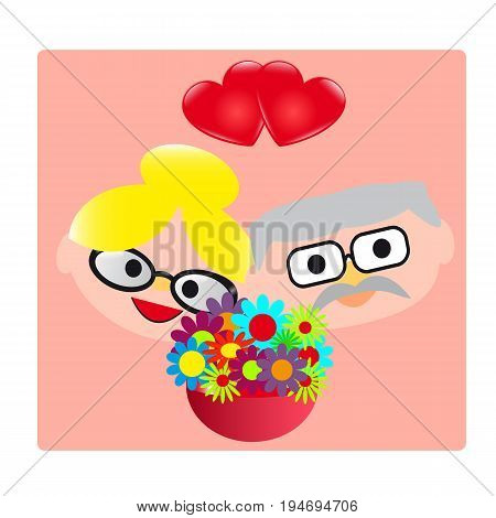 Grandmother Grandfather flowers and  hearts. Vector illustration