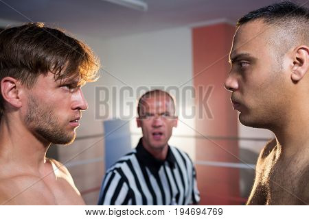 Side view of boxers staring at each other by referee in boxing ring