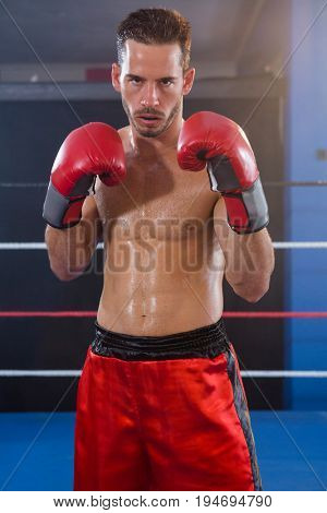 Portrait of confident male boxer standing in fighting stance at fitness studio