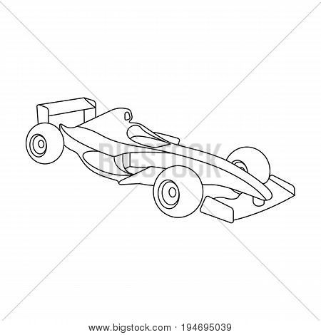 Car racing.Extreme sport single icon in outline style vector symbol stock illustration .