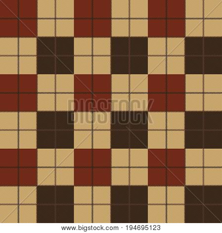 Vector seamless pattern. High detailed Scottish tartan traditional checkered British fabric or plaid pattern. Design of fabric