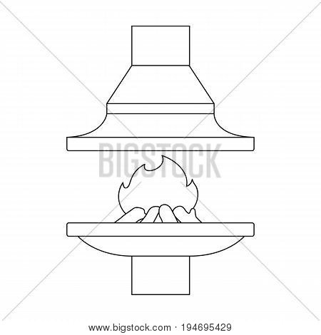 Fire, warmth and comfort. Fireplace single icon in outline style vector symbol stock illustration .