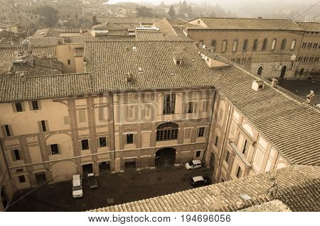 Italy Siena - December 26 2016: the view of the inner courtyard of Santa Maria della Scala on December 26 2016 in Siena Tuscany Italy.