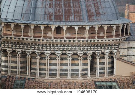 Italy Siena - December 26 2016: the close up view of the of the dome of Duomo di Siena. Metropolitan Cathedral of Santa Maria Assunta on December 26 2016 in Siena Tuscany Italy.