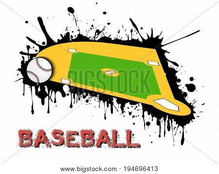 Baseball Ball And Field On A Background Of Blots Of Paint