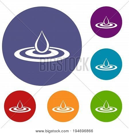 Water drop and spill icons set in flat circle reb, blue and green color for web