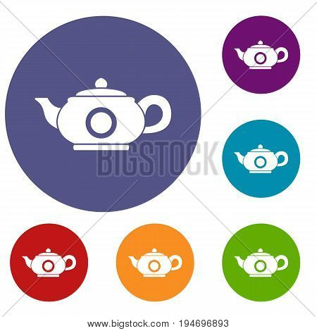 Teapot icons set in flat circle reb, blue and green color for web