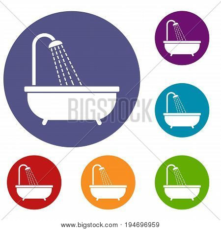 Shower icons set in flat circle reb, blue and green color for web